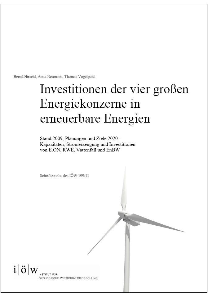 Investments of the four major energy companies in renewable energies
