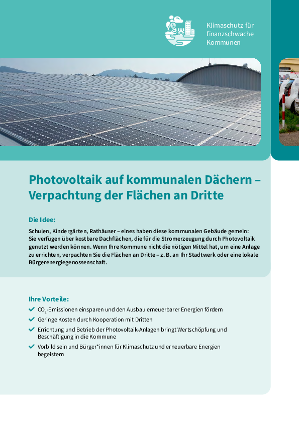 Photovoltaics on municipal roofs – leasing the areas to third parties