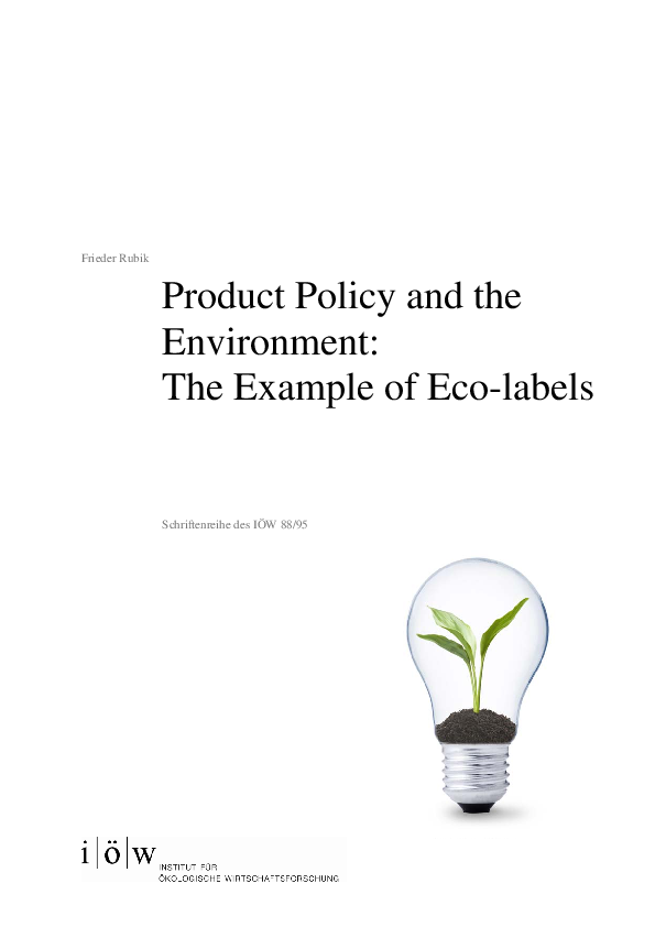 Product Policy and the Environment: The Example of Eco-labels