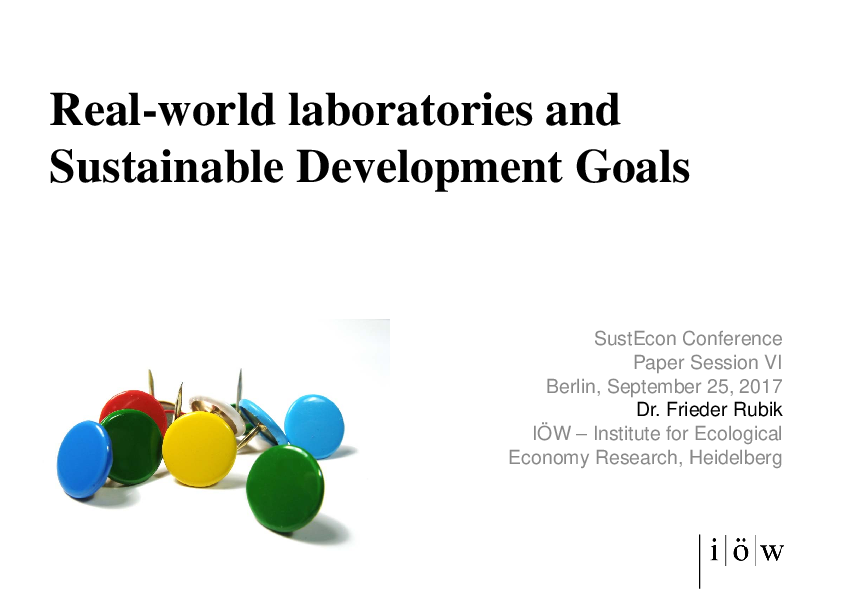 Real-world Laboratories and Sustainable Development Goals (Session Title)