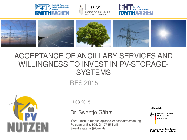 Acceptance of Ancillary Services and Willingness to Invest in PV-Storage-Systems