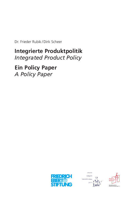 Integrated Product Policy. A Policy Paper