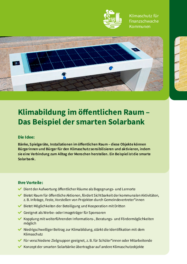 Climate education in public spaces – the example of the smart solar bank