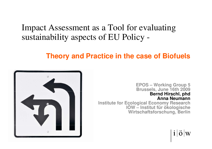 Impact Assessment as a Tool for Evaluating Sustainability Aspects of EU Policy - Theory and Practice in the Case of Biofuels""
