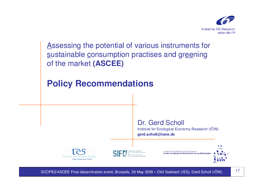 Assessing the Potential of Various Instruments for Sustainable Comsumption Practises and Greening of the Market (ASCEE) - Policy Recommendations