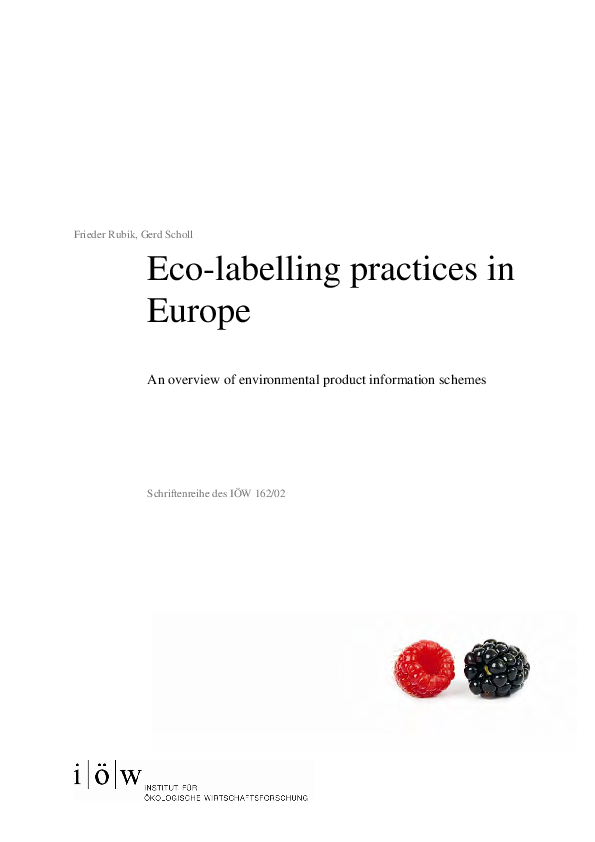Eco-labelling practices in Europe