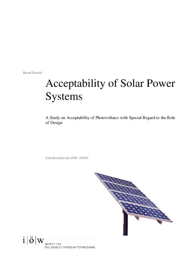 Acceptability of Solar Power Systems