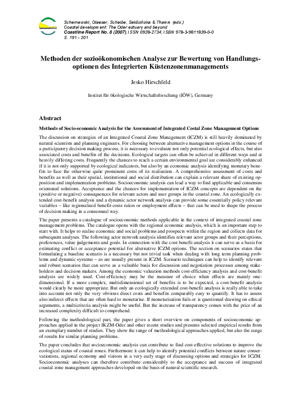 Methods of Socio-economic Analysis for the Assessment of Integrated Costal Zone Management Options
