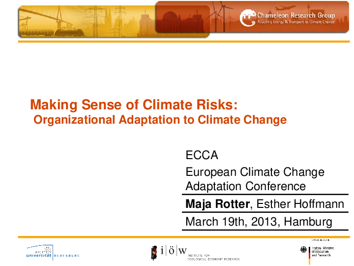 Making Sense of Climate Risks - Barriers to Organizational Adaptation