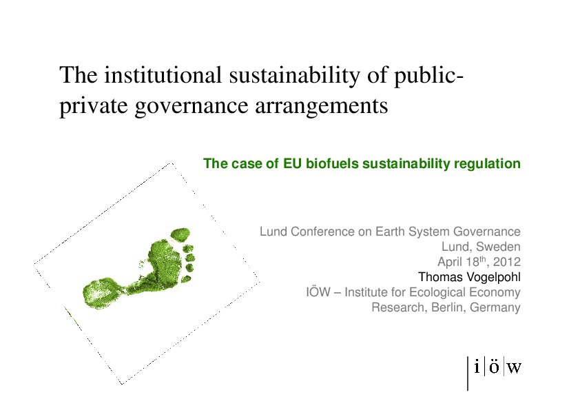 The Institutional Sustainability of Public-Private Governance Arrangements