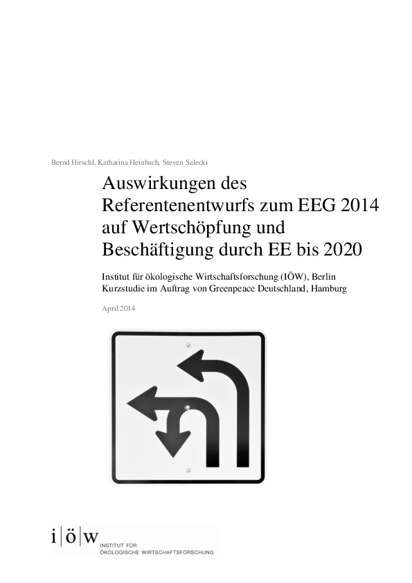 Impacts of the 2014 Amendment for the German Renewable Energies Act on Value Added and Employment until 2020