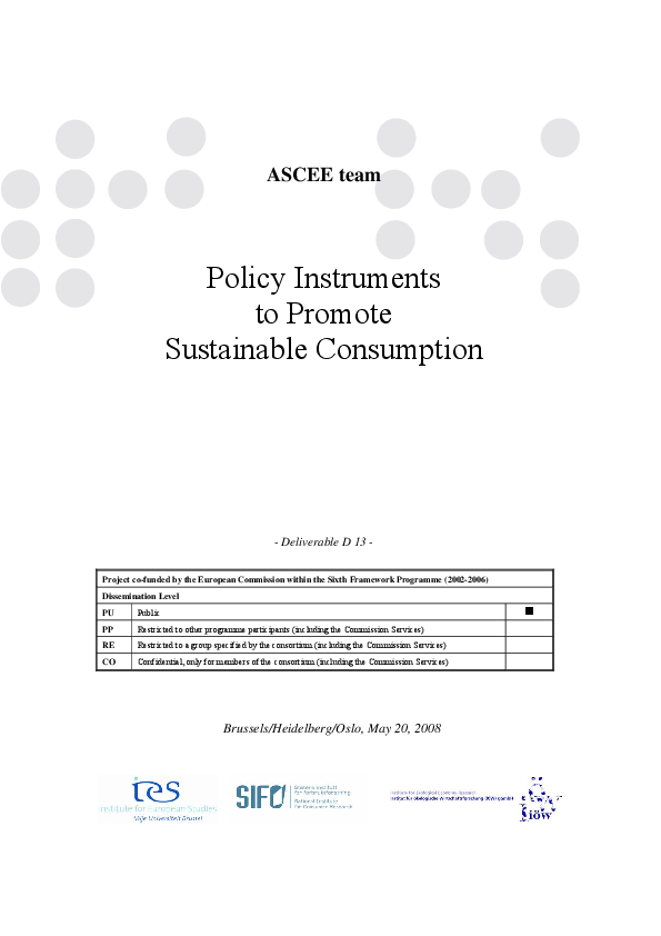 Policy Instruments to Promote Sustainable Consumption