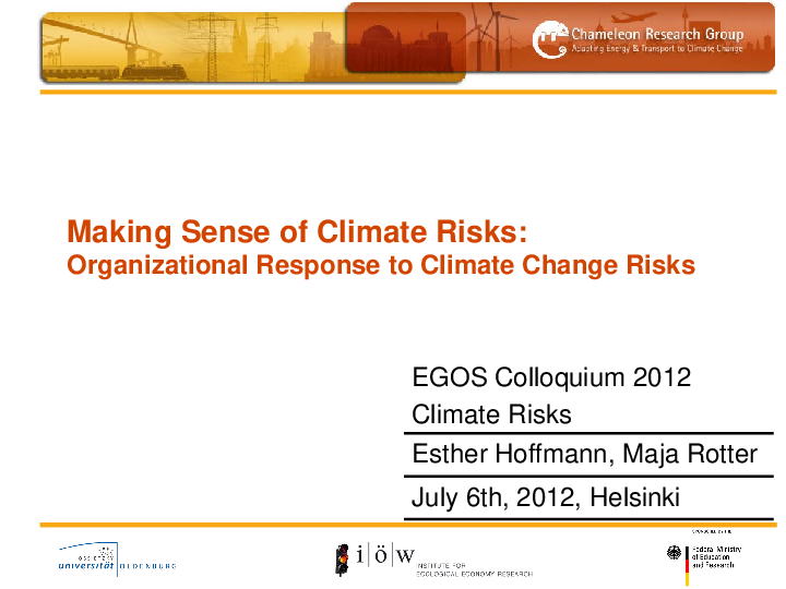 Making Sense of Climate Risks - Organizational Response to Climate Change Risks