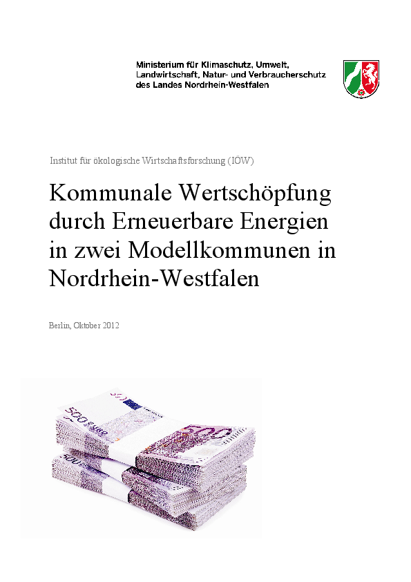Regional value creation through renewable energies in two selected municipalities in North Rhine-Westfalia