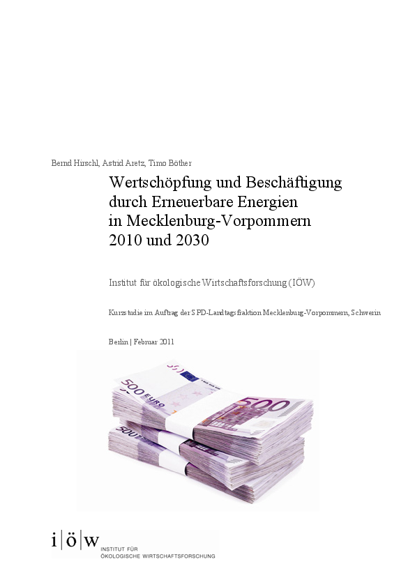 Value added and employment creation of renewable energies in Mecklenburg-Western Pomerania 2010 and 2030