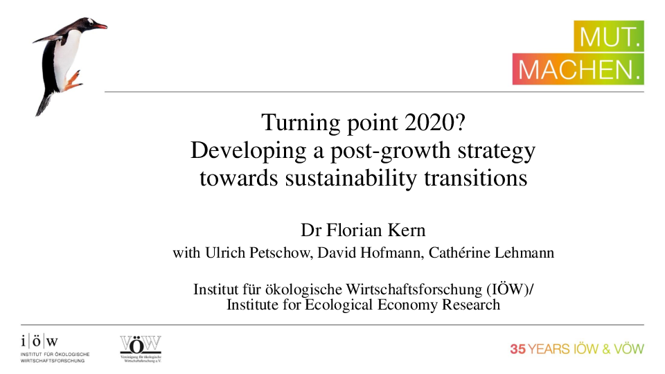 Turning point 2020? Developing a post-growth strategy towards sustainability transitions