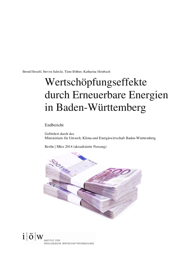 Local value added by renewable energy technologies in the state of Baden-Württemberg