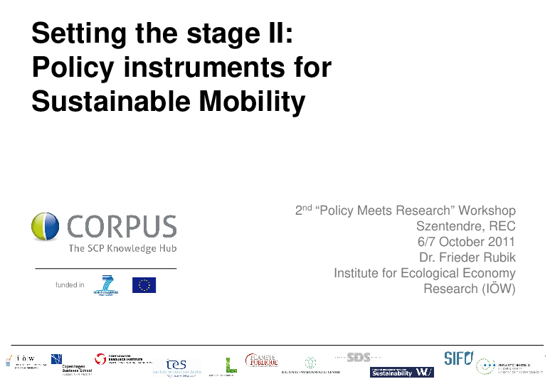 Setting the Stage II: Policy Instruments for Sustainable Mobility