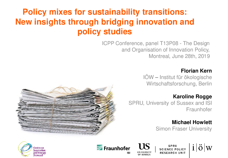 Policy mixes for sustainability transitions: New insights through bridging innovation and policy studies