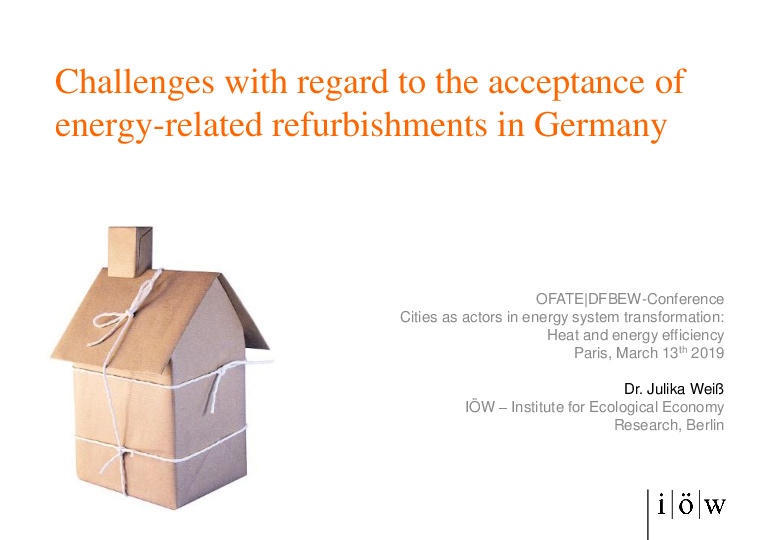 Challenges with regard to the acceptance of energy-related refurbishments in Germany