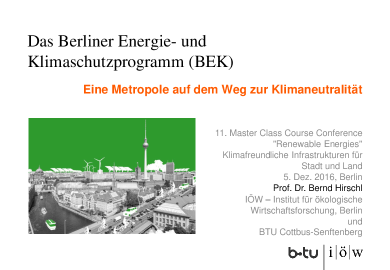 The Berlin Energy and Climate Protection Programme (BEK) | A Metropolis on the Way to Climate Neutrality