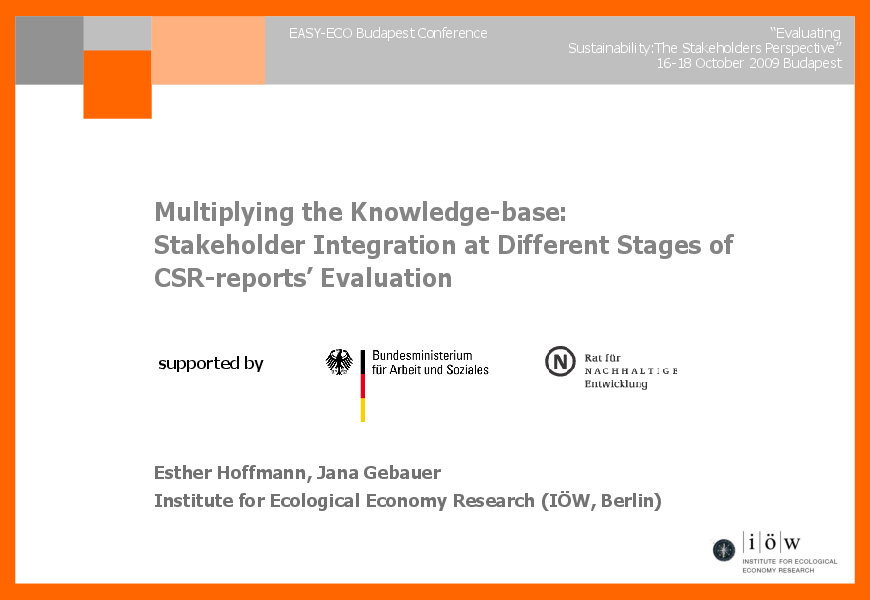Multiplying the Knowledge Base: Stakeholder Involvement at Different Stages of CSR-Reports' Evaluation