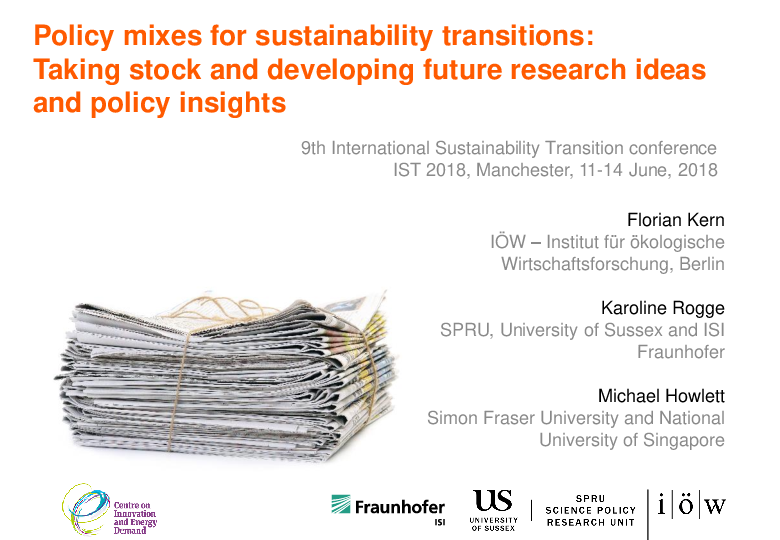 Policy Mixes for Sustainability Transitions: Taking Stock and Developing Future Research Ideas and Policy Insights