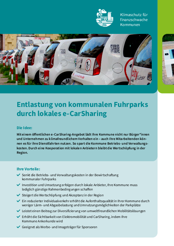 Relief for municipal vehicle fleets through local e-CarSharing