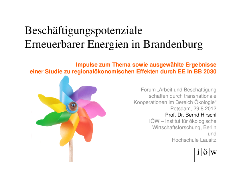 Employment opportunities in the  renewable energy sector in Brandenburg
