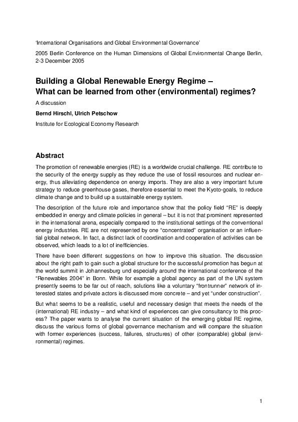 Building a Global Renewable Energy Regime
