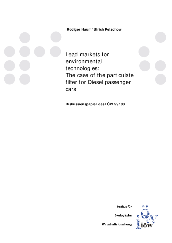Lead markets for environmental technologies