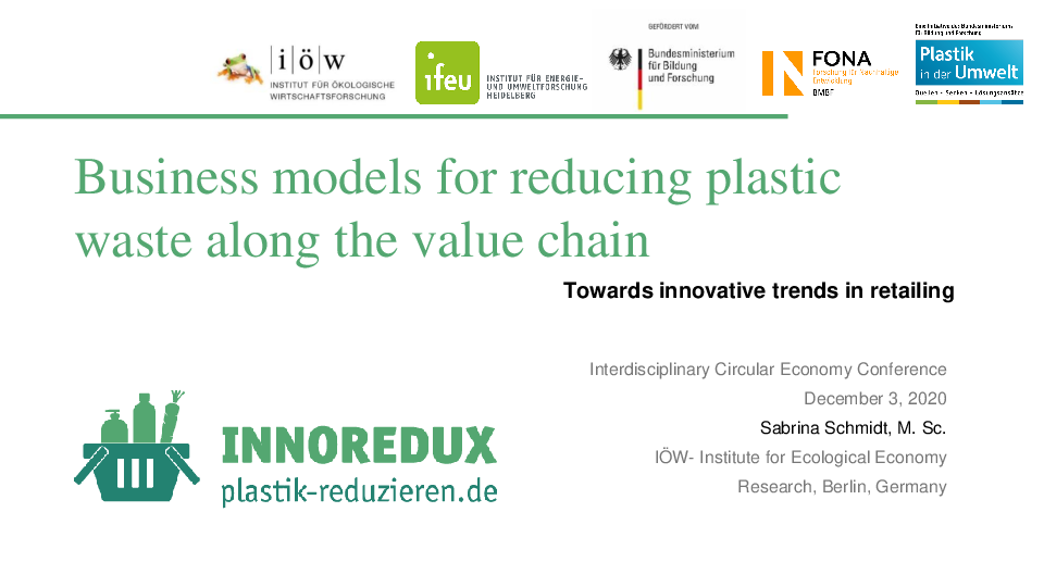 Business models for reducing plastic waste along the value chain: Towards innovative trends in retailing
