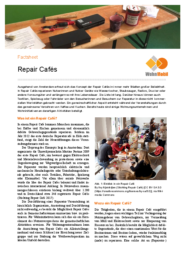 Factsheet: Repair Cafés