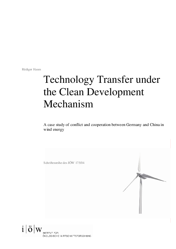 Technology Transfer under the Clean Development Mechanism