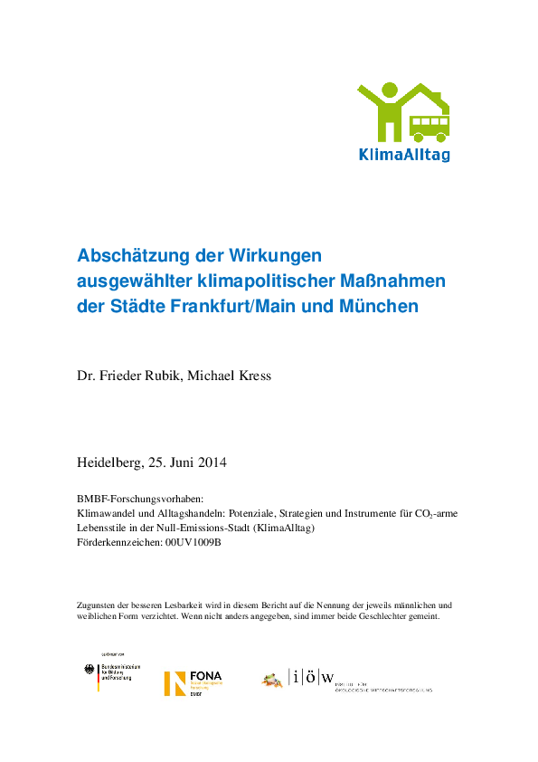 Assessment of the Effects of Selected Climate Policy Measures by the Cities of Frankfurt/Main and Munich.