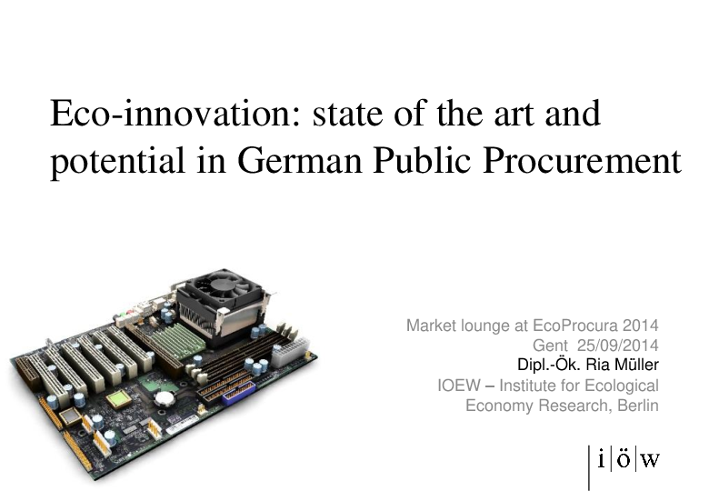 Eco-innovation: state of the art and potential in German Public Procurement