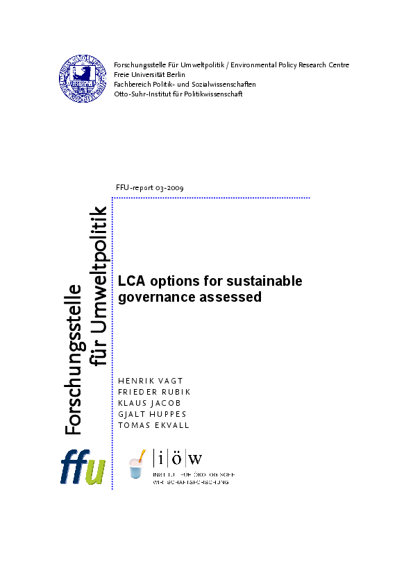 LCA options for sustainable governance assessed.