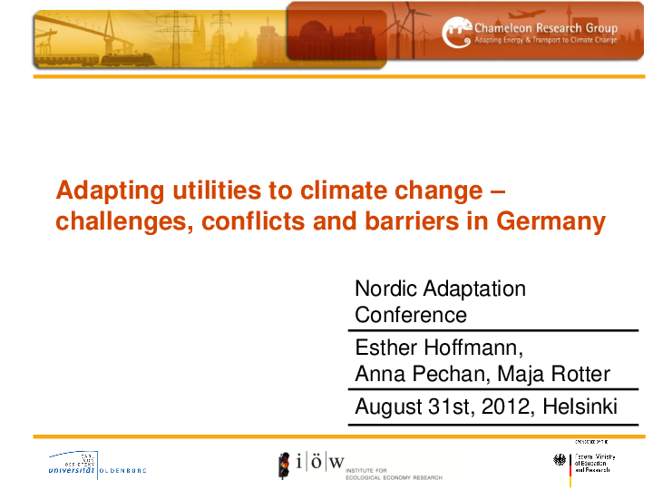 Adapting Utilities to Climate Change – Challenges, Conflicts and Barriers in Germany