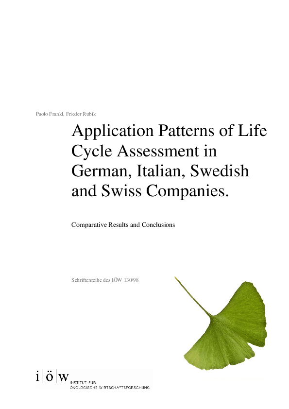 Application Patterns of Life Cycle Assessment in German, Italian, Swedish and Swiss Companies