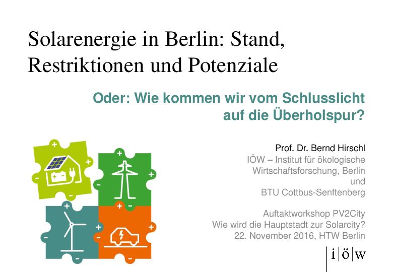 Solar Energy in Berlin: State, Restrictions and Potentials