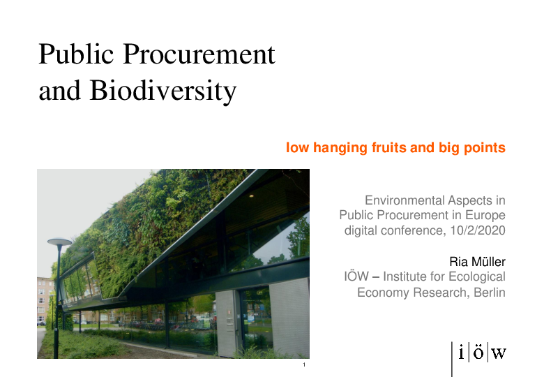 Public Procurement and Biodiversity- low hanging fruits and big points