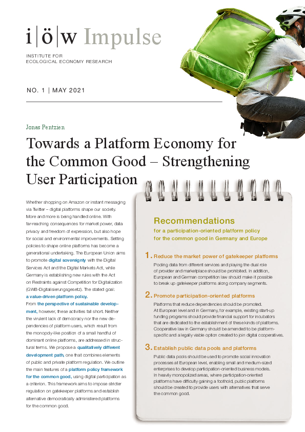 Towards a Platform Economy for the Common Good – Strengthening User Participation