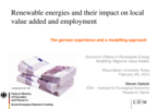 Renewable Energies and Their Impact on Local Value Added and Employment