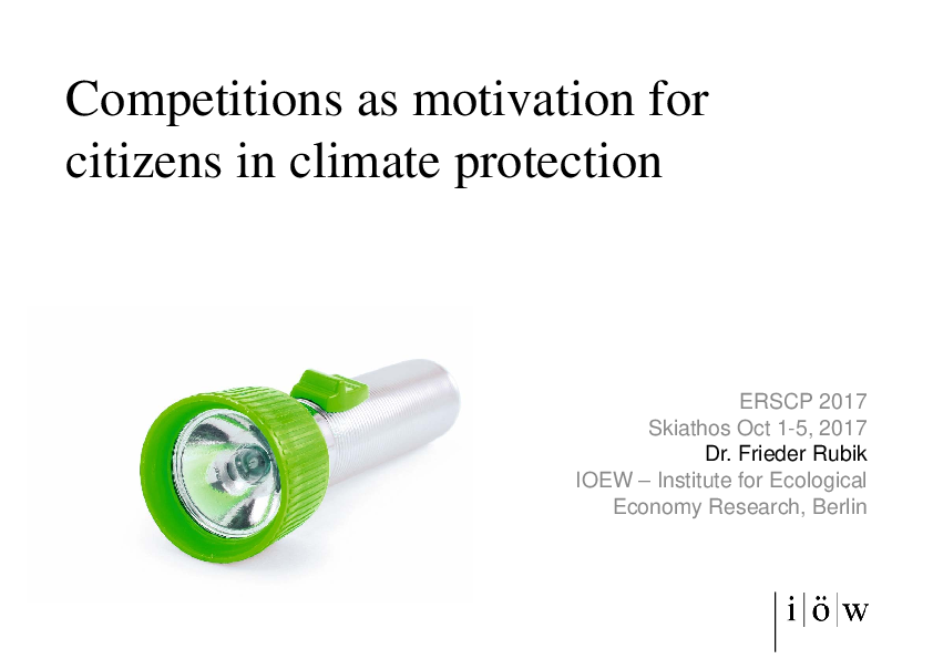 Competitions as motivation for citizens in climate protection