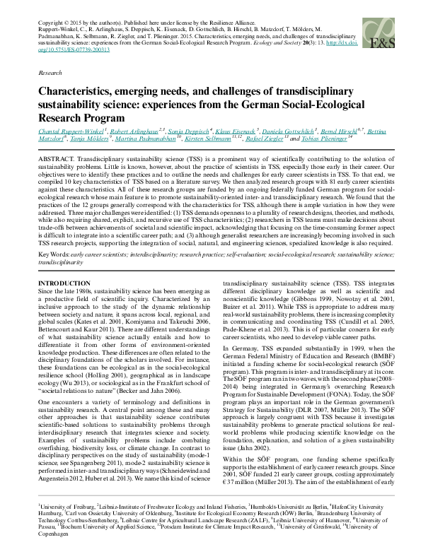 Characteristics, Emerging Needs, and Challenges of Transdisciplinary Sustainability Science