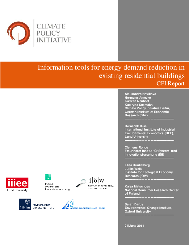 Information tools for energy demand reduction in existing residential buildings