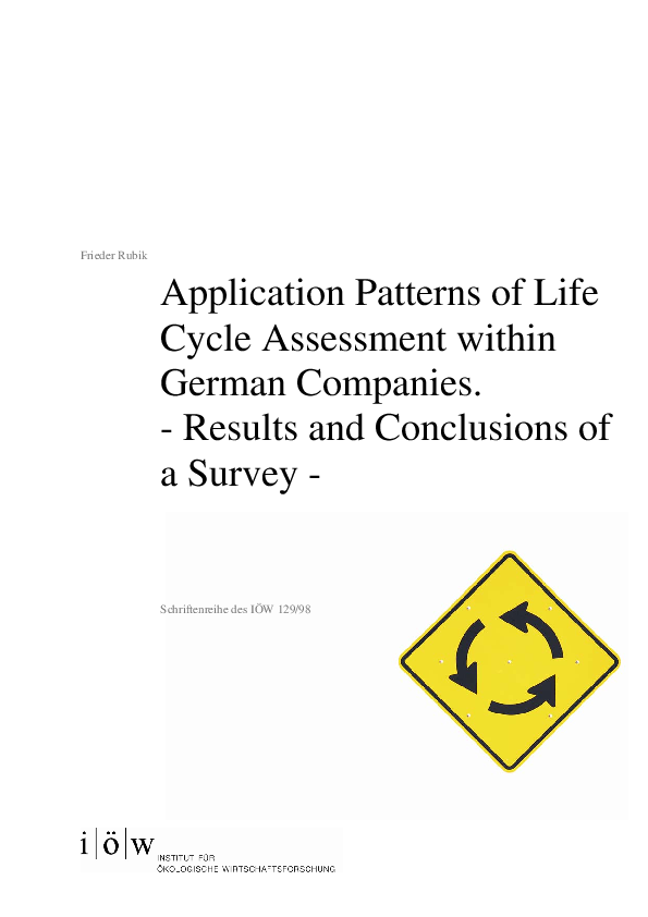 Application Patterns of Life Cycle Assessment within German Companies