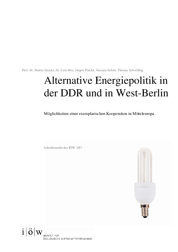 Alternative Energiepolitik in der DDR und in West-Berlin