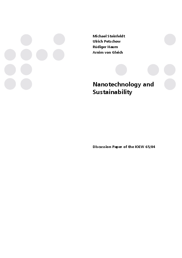 Nanotechnology and Sustainability