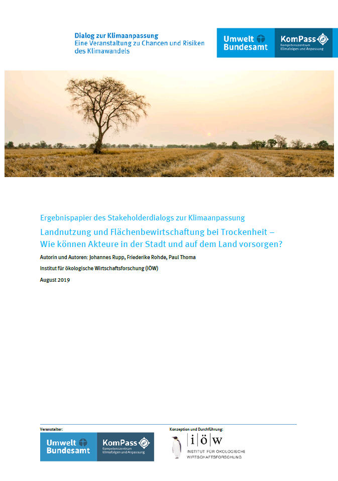 Land use and land management in case of drought – How can urban and rural actors be prepared in the long run?